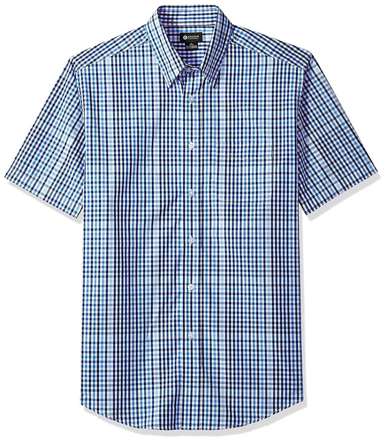 Haggar Men's Short Sleeve Gradient Plaid Shirt IWM289