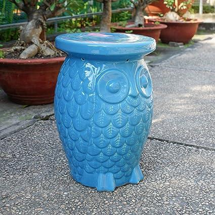 Superieur International Caravan Wise Old Owl Ceramic Garden Stool   Blue