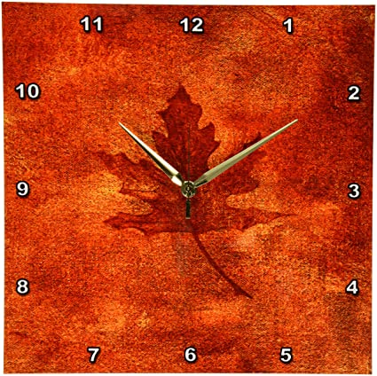 Amazon.com: 3dRose DPP_35021_2 Large Orange Maple Leaf Wall Clock