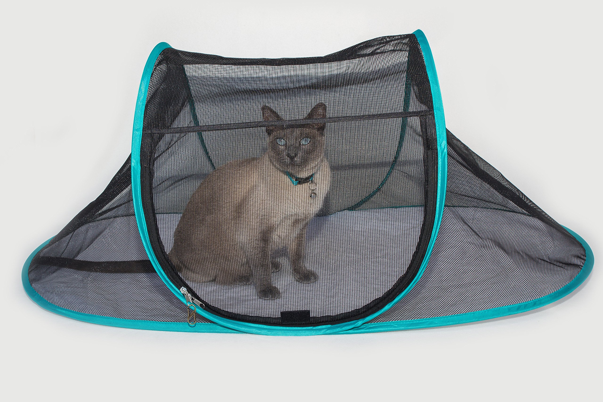 Nala and Company - The Cat House Outdoor Pet Enclosure for Indoor Cats - Portable, View, Pop Up Playhouse Tent for Deck, Patio, Porch, Yard, Balcony & RV Travel - Includes Storage Pouch