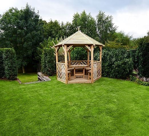 HGG – abierto Gazebo con muebles – madera Gazebo – Cenadores y pérgolas – Patio al aire libre muebles de jardín de madera maciza: Amazon.es: Jardín
