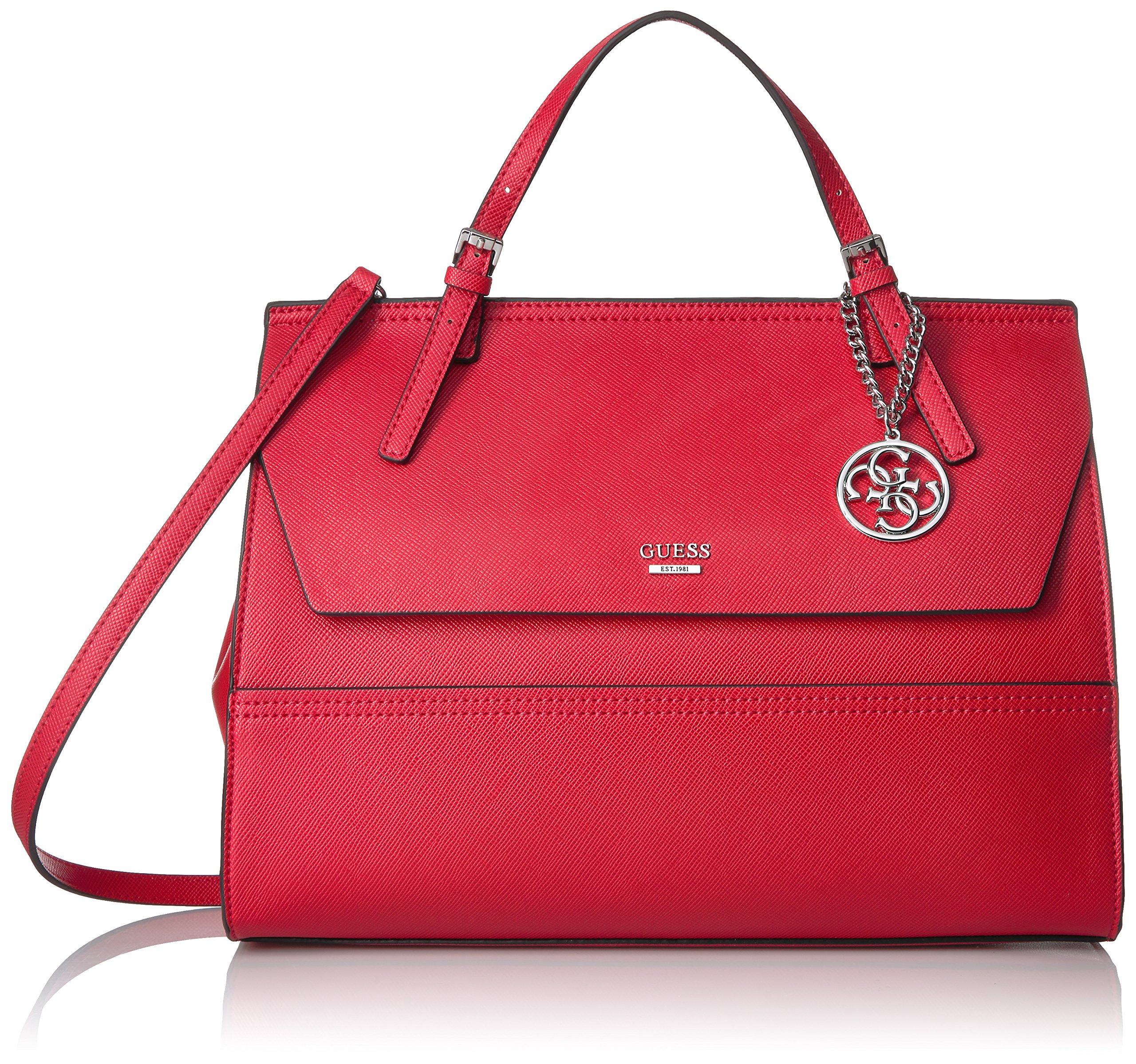 GUESS Huntley Saffiano Top Handle Flap, Cny Red