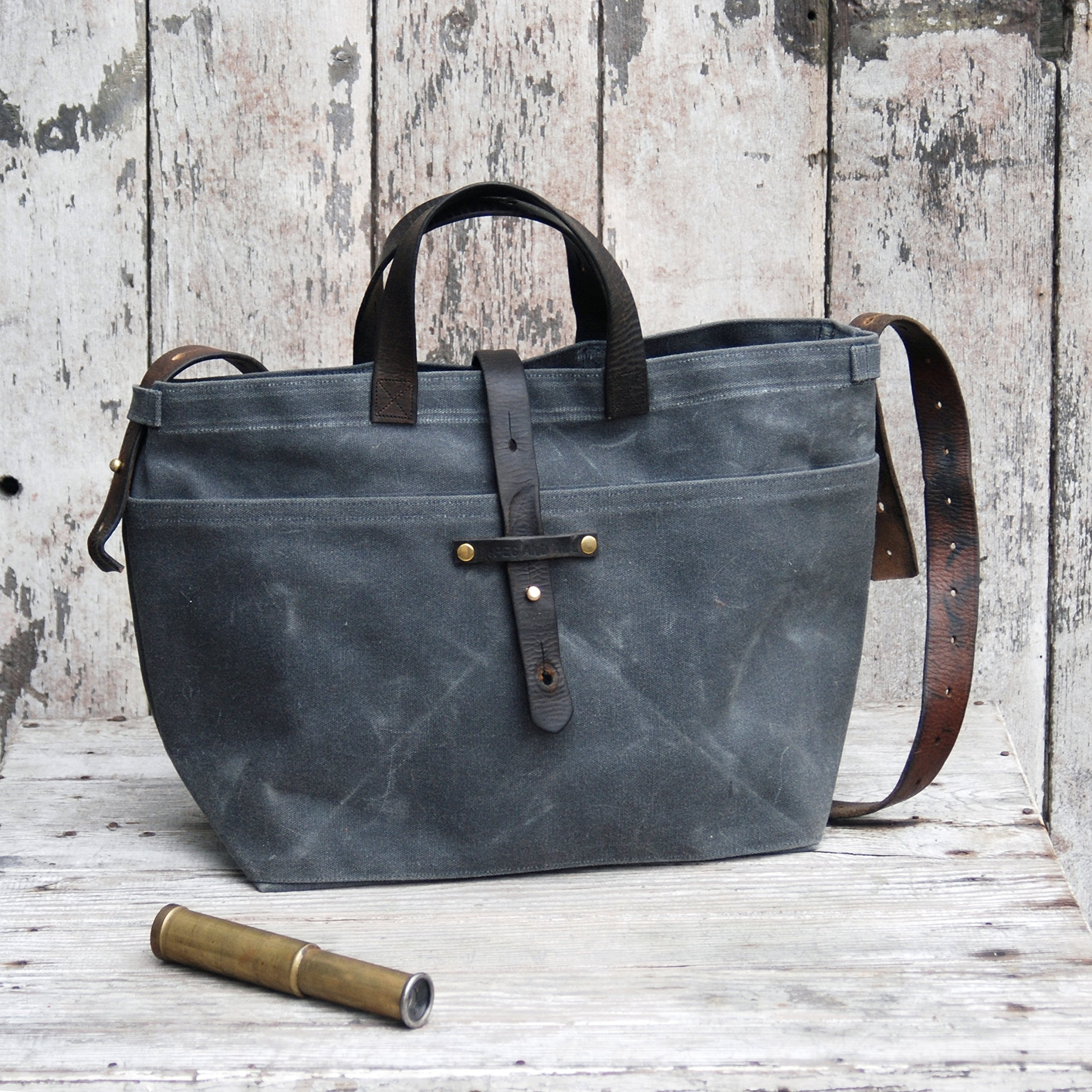 Waxed Canvas Tote in Slate with Zipper by Peg and Awl