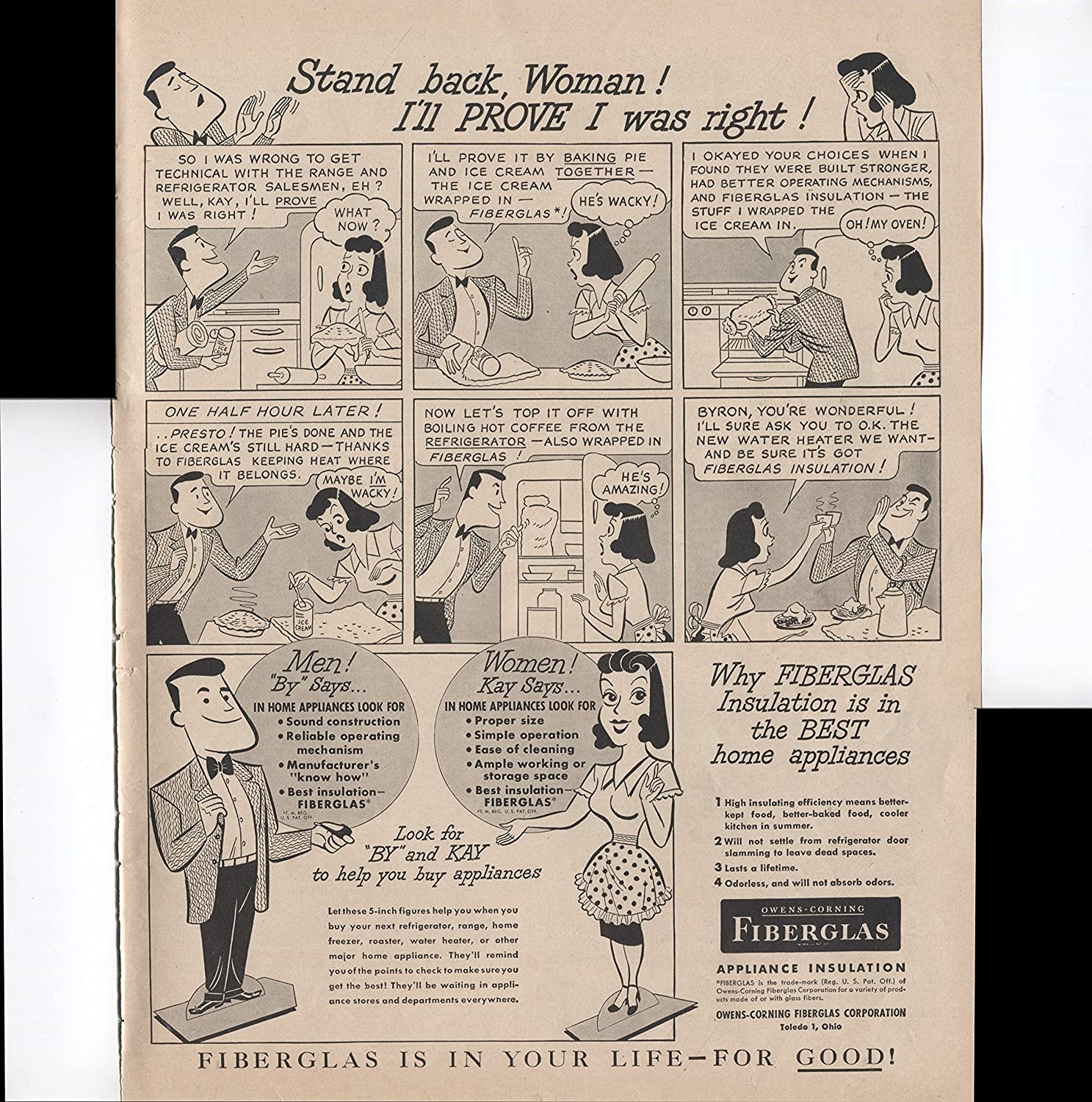 2e00b30fb8bd9 Amazon.com   Owens-Corning Fiberglas Appliance Insulation Included In The  Best Home Appliances 1950 Vintage Antique Advertisement   Everything Else
