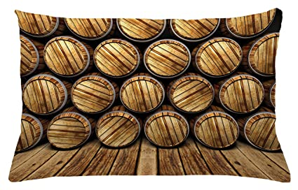 Lunarable Man Cave Throw Pillow Cushion Cover, Wall Of Wooden Seem Barrels  Cellar Storage Winery
