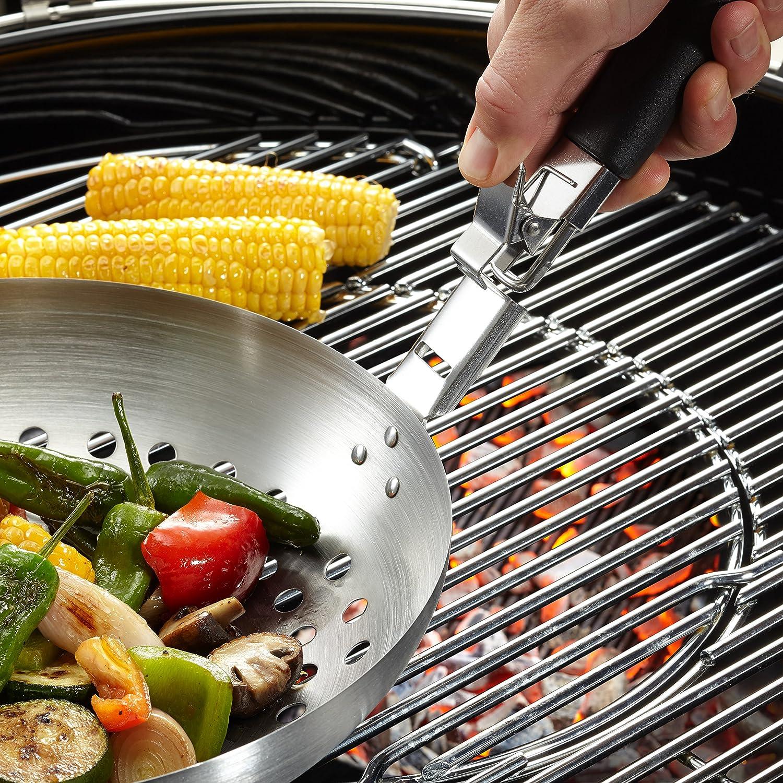 GEFU GE89250 Wok /à L/égumes Barbecue avec Poign/ée Amovible Acier Inoxydable Inox 29 x 28,5 x 10 cm