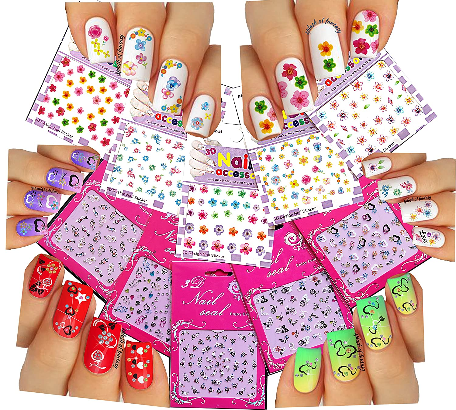 Cute & Adorable Nail Art 3D Stickers ♥ With Rhinestones Hearts / Flowers Collection of 10 Decals /EEX-I/ La Demoiselle