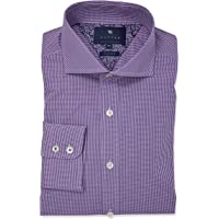 Wayver Purple Stretch Gingham Check Business Shirt