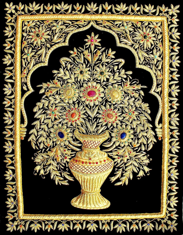 "Amazon.com: 18""x24"" Indian Hand Embroidered Zardozi Zardosi 3D ... for Indian Hanging Decorations  75sfw"