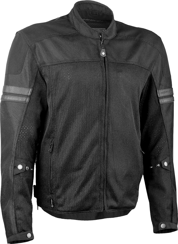 Highway 21 Turbine Mesh Mens Motorcycle Jacket W//Waterproof Liner//Reflective Piping Black Size 2XL