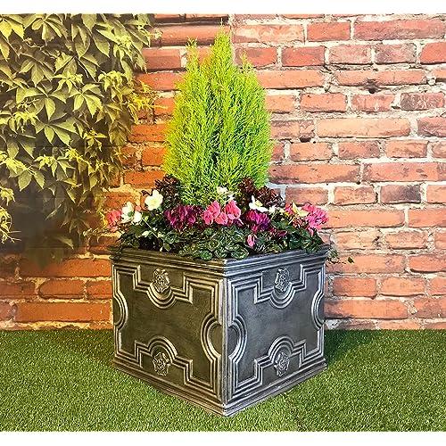 Superior Large Square Garden Planter Tudor Style Pewter / 120 Litre Capacity