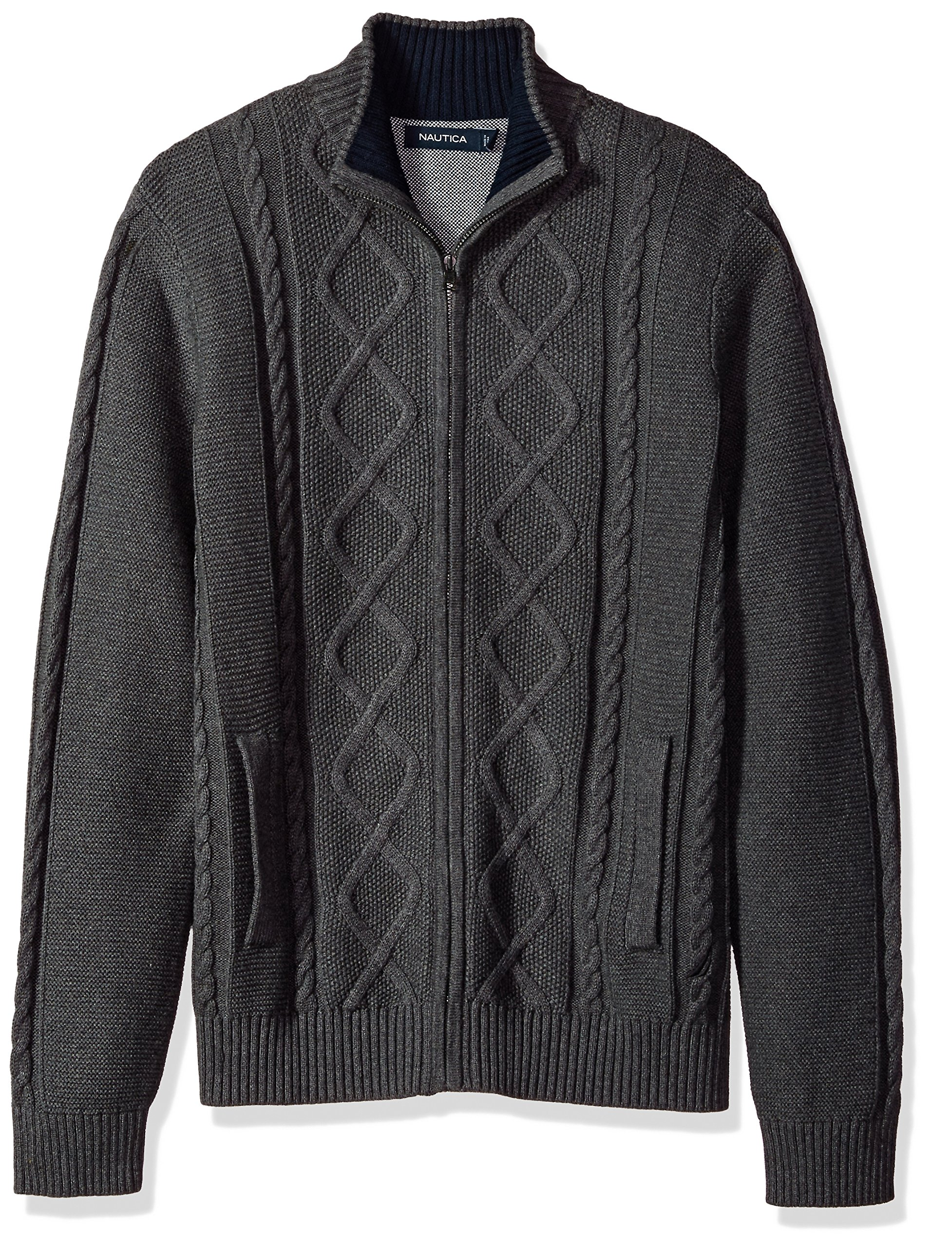 Nautica Men's Long Sleeve V-Neck Cable Sweater, Charcoal Grey, X-Large