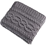 Brielle Chenille Chunky Cable Knit Throw, Grey