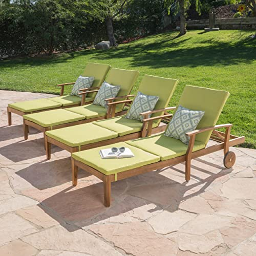Great Deal Furniture Daisy Outdoor Teak Finish Chaise Lounge