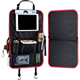 """Halence Black and Red Oxford Fabric Car Backseat Organizer Back Seat Protecotors Kick Mats 22.8""""14.2"""" Multi-Pocket Travel Storage Accessories for Vehicle Car Truck"""