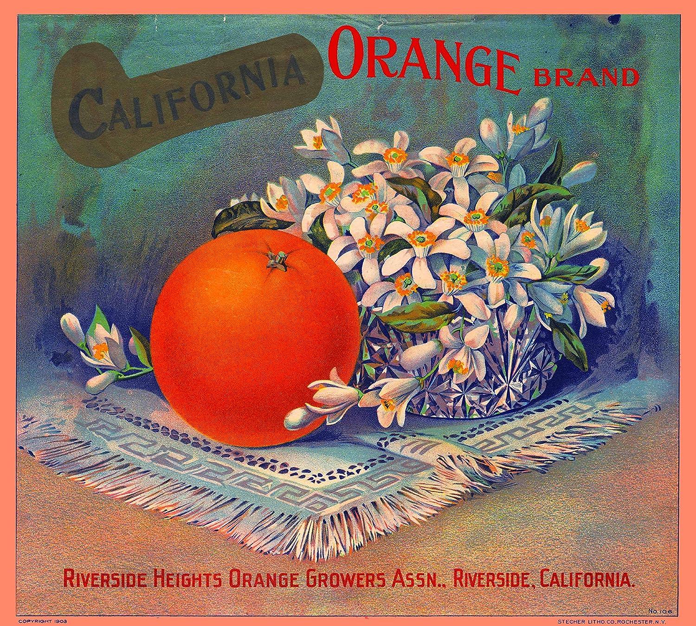 Rialto Big R #1 Orange Citrus Fruit Crate Label Art Print