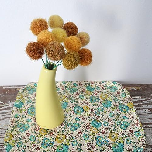 Amazon mustard yellow felt flowers wool pom pom ball flower mustard yellow felt flowers wool pom pom ball flower craspedia billy balls mightylinksfo