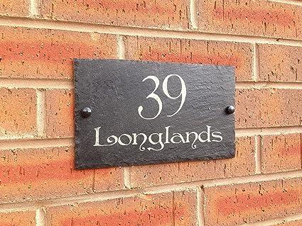 Placa de pizarra para número de casa, 25x15cm