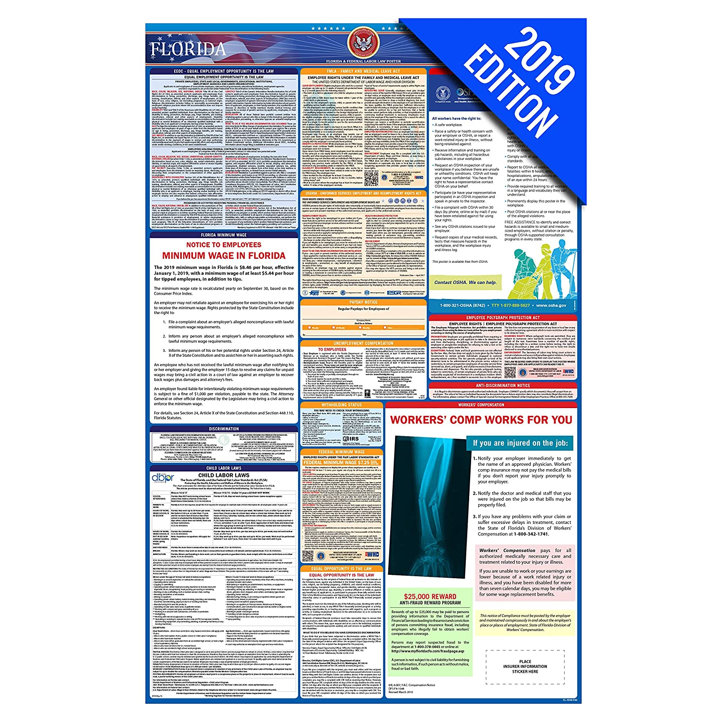 2019 Florida Labor Law Poster State Federal Osha Compliant Single Laminated Poster