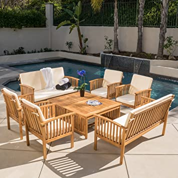 Beckley 8 Pc Outdoor Wood Sofa Seating Set
