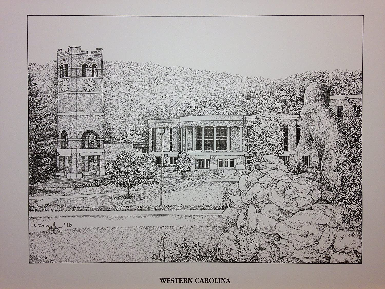 Western Carolina University - Bell Tower 11x14 pen and ink print