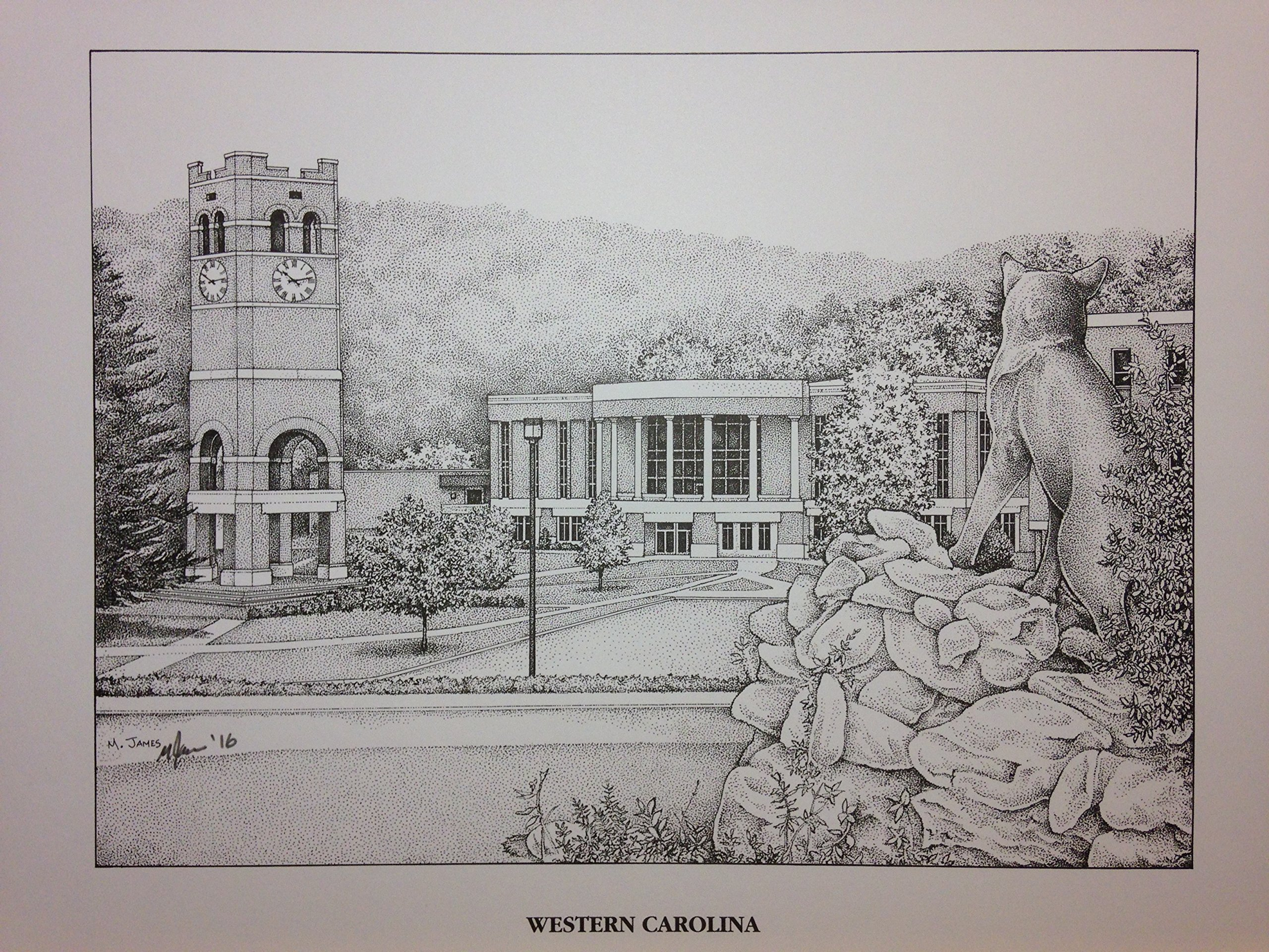 Western Carolina University - Bell Tower 11''x14'' pen and ink print by Campus Scenes