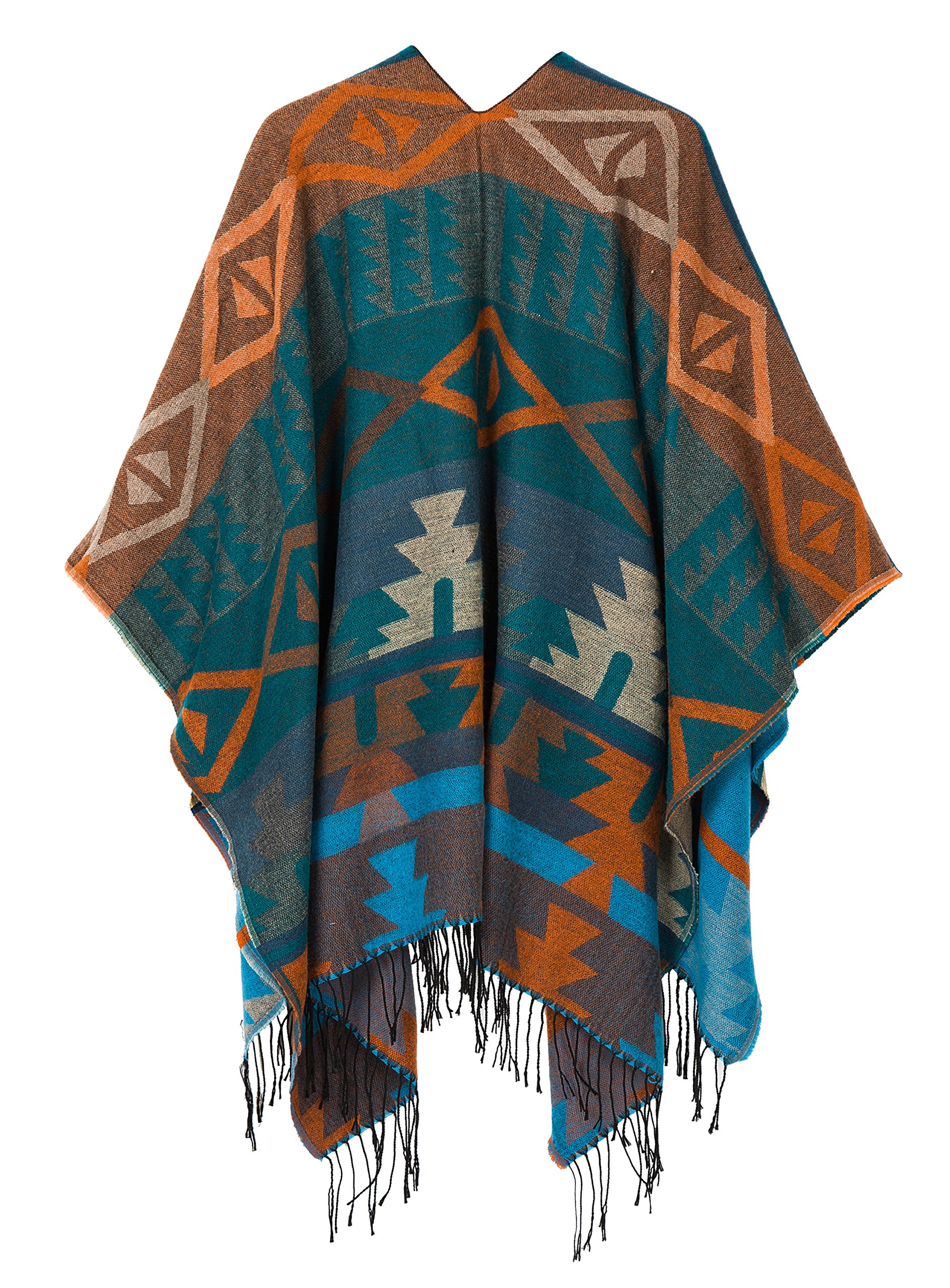 Urban CoCo Women's Printed Tassel Open front Poncho Cape Cardigan Wrap Shawl (Series 4-Blue) by Urban CoCo (Image #2)