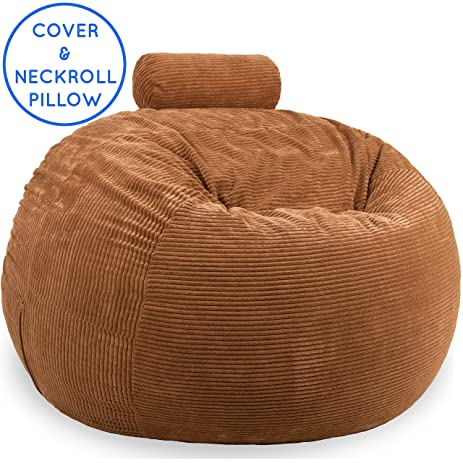 Premium 4 Feet Replacement Cover U0026 Stuffed Neckroll Pillow In Bronze Brown    Fits Lovesac
