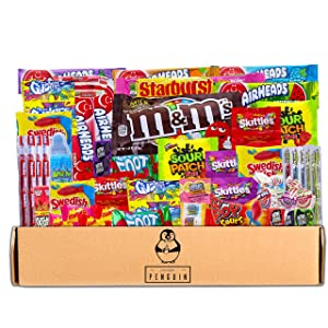 Bite Sized Candy Care Package - (50 count) A Sampler of Skittles, Sour Patch Kids, Starburst, M&M's, Twizzlers, Airheads, and More! Great for Movie Night, Sleepovers, and Goodie Bags!