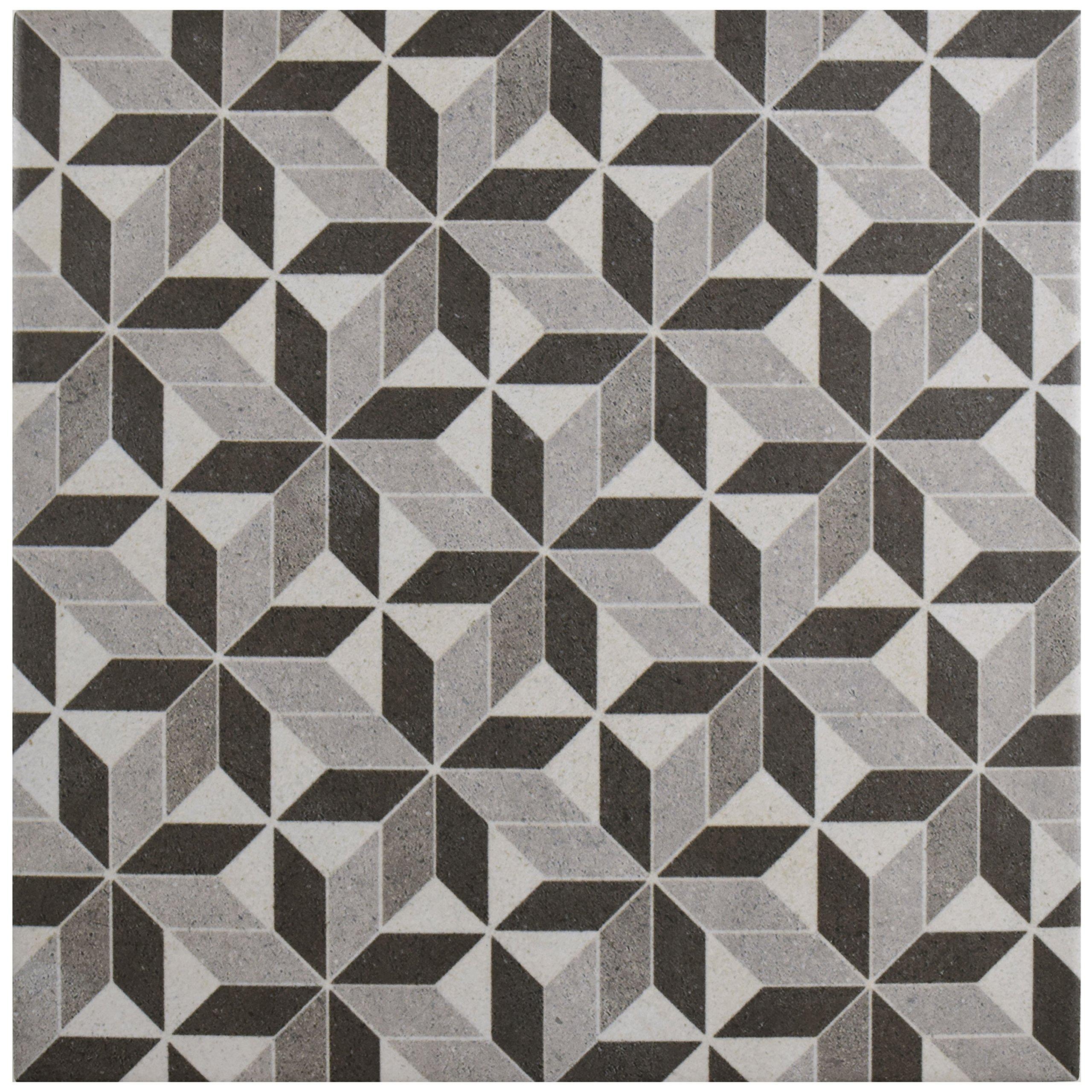 SomerTile FCD10VTK Verema Porcelain Floor and Wall Tile, 9.75'' x 9.75'', Grey