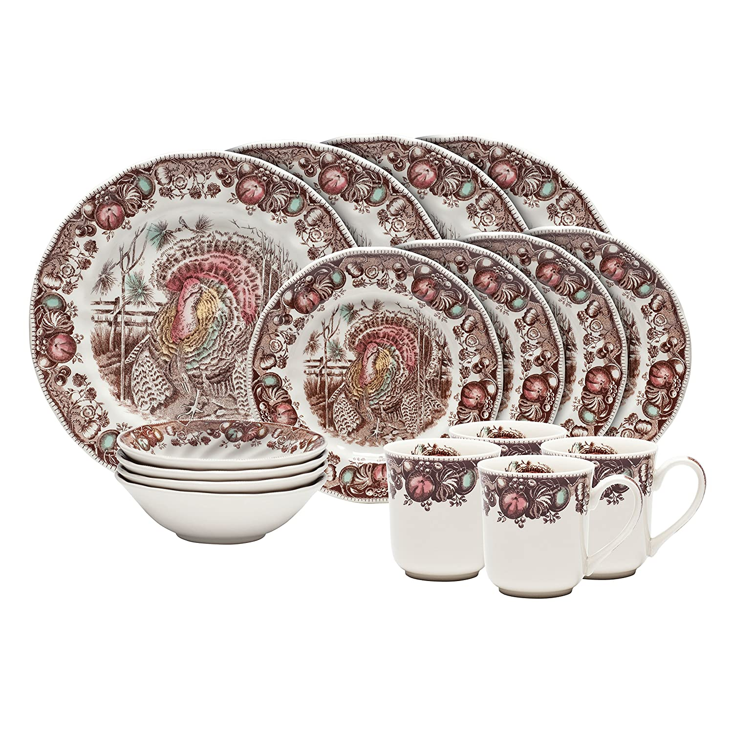 Amazon.com | Johnson Brothers 16-Piece His Majesty Dinner Set ...