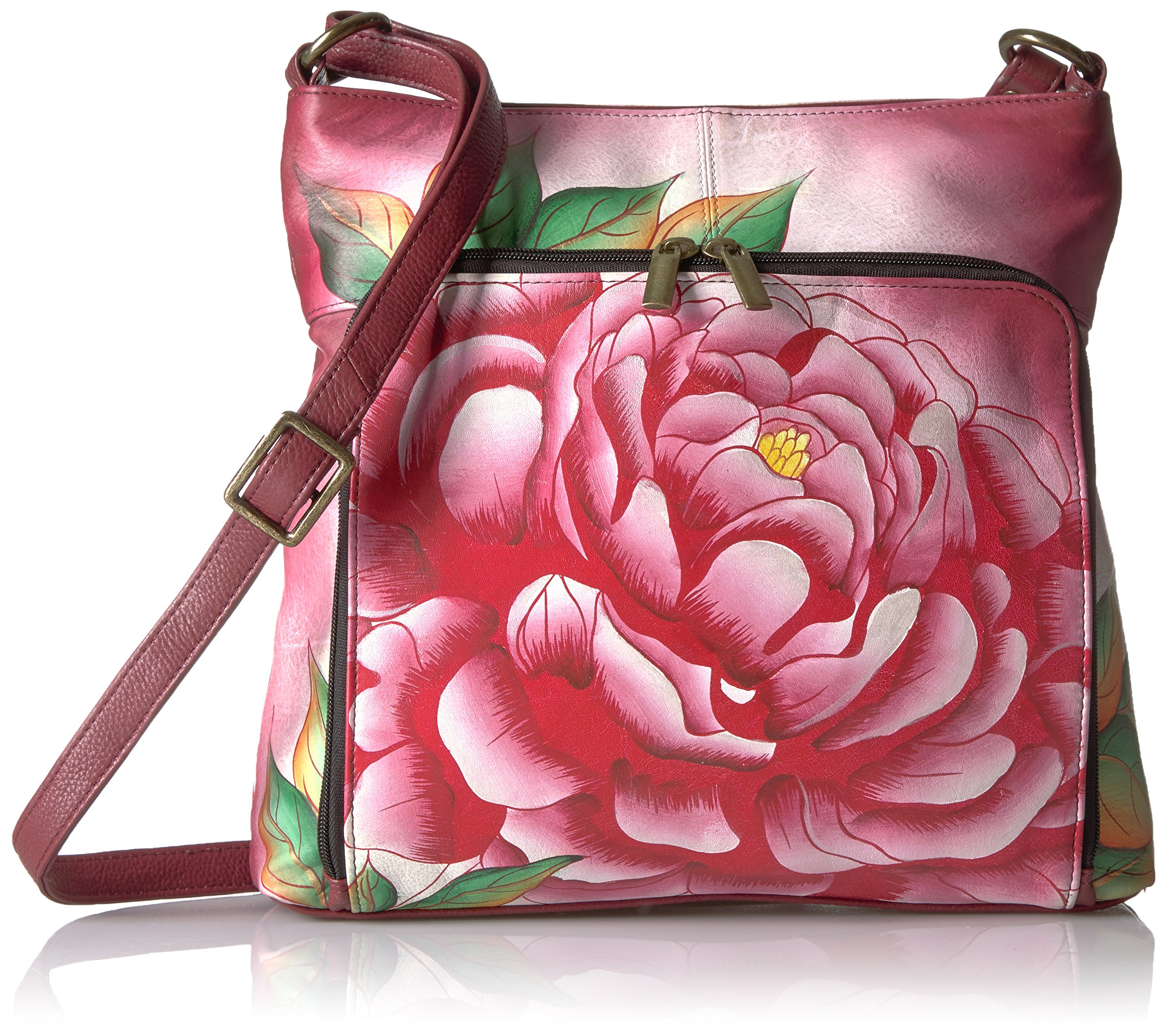 Anuschka Anna Handpainted Leather Organizer Cross Body-Precious Peony