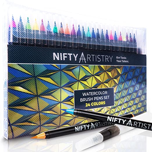 Watercolor Brush Pens - 24 Flexible Brush Tip Markers and 1 Refillable Water Brush Pen for Mess-Free Watercolor Painting, Drawing, and Hand Lettering for Artists and Beginner Painters