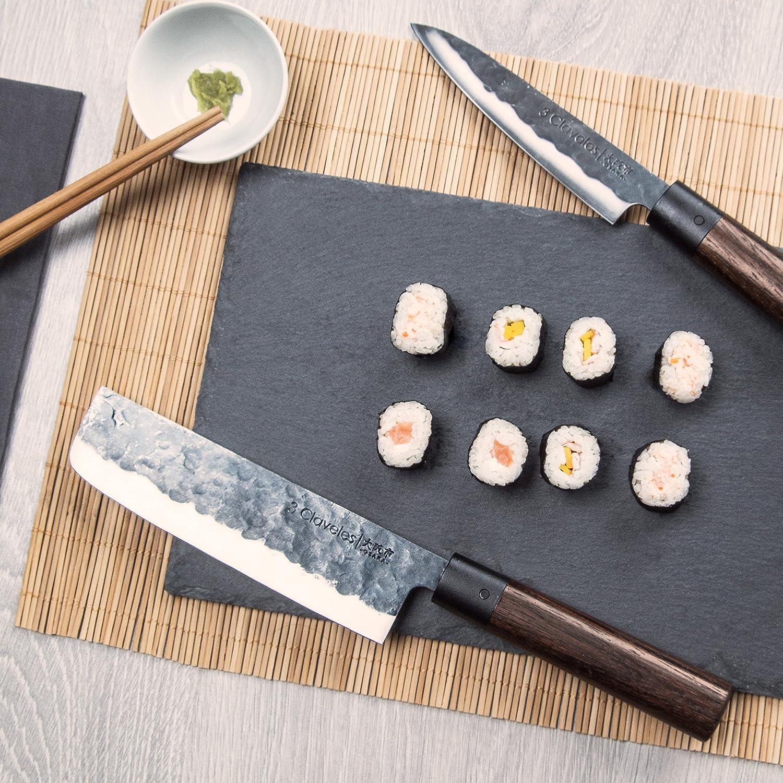 3 Claveles Cuchillo de Cocinero Japonés, Mango de Madera, Línea Osaka - (20 cm),