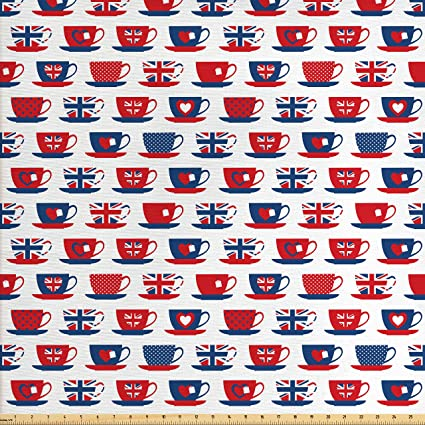 Amazon Com Ambesonne Tea Party Fabric By The Yard Great Britain
