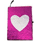 Reversible Magic Sequin Notebook - Color Changing Flip Sequins with Heart - Vibrant Pink and Sparkling Silver - Lined A5 Paper - Perfect Gift for Creative Girls and Teens