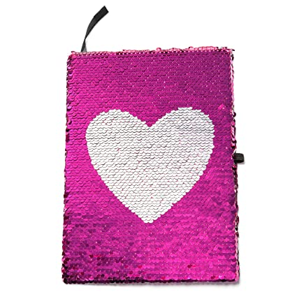 b84ba7c992f80 Reversible Magic Sequin Notebook with True Heart Pattern - Color-Changing Pink  and Silver Flip
