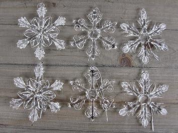 Amazon De 6 Schneeflocken Aus Glas Zum Hangen Christbaumschmuck