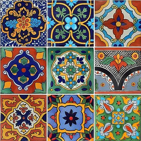 50 Pieces Mexican Talavera Tiles Handmade Green Mixed Designs Mexican Ceramic 4x4 inch