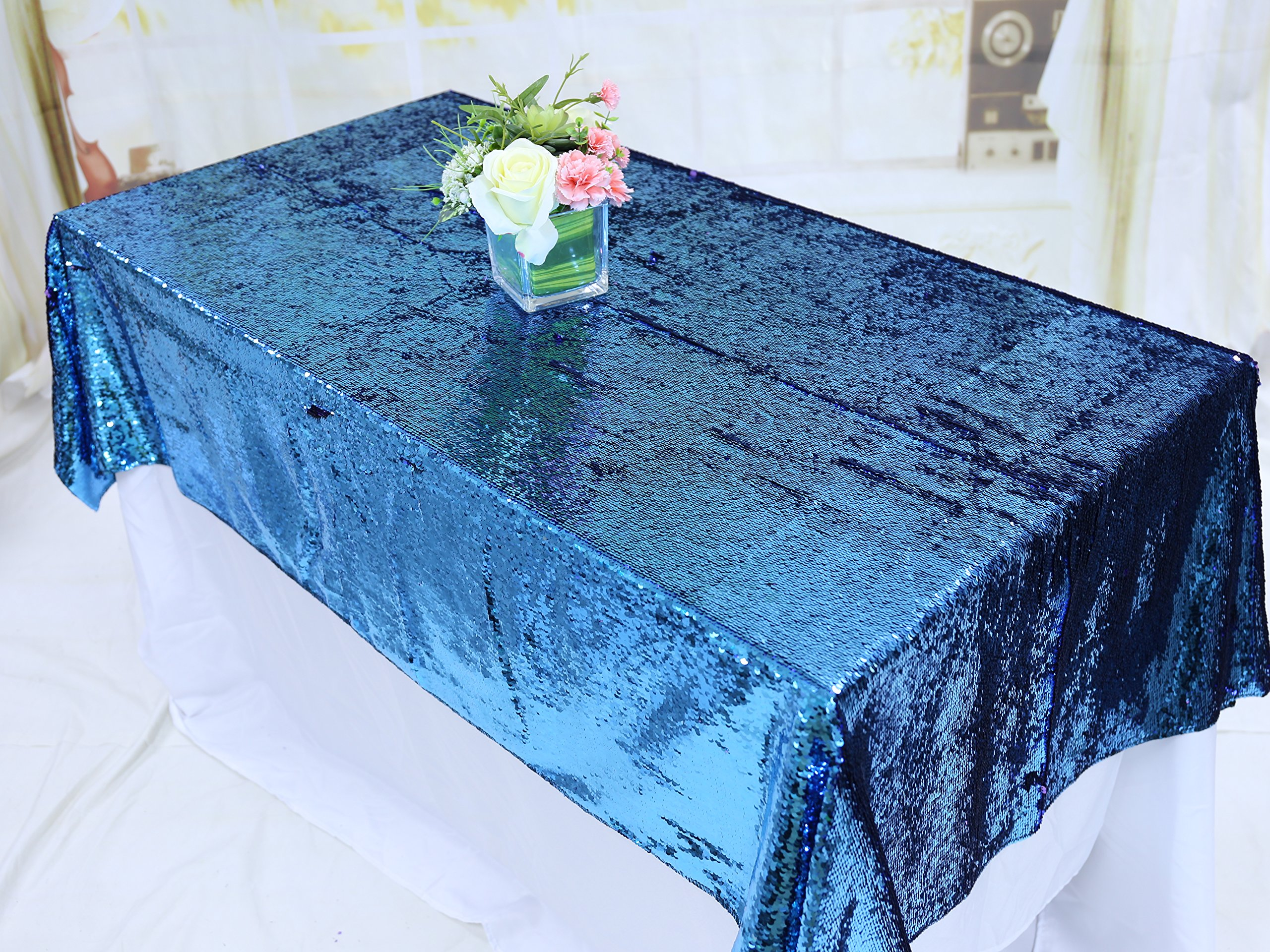 TRLYC Lavender and Blue 90x132-Inch Two Color Glitter Sequin Tablecloth Sequin for Wedding