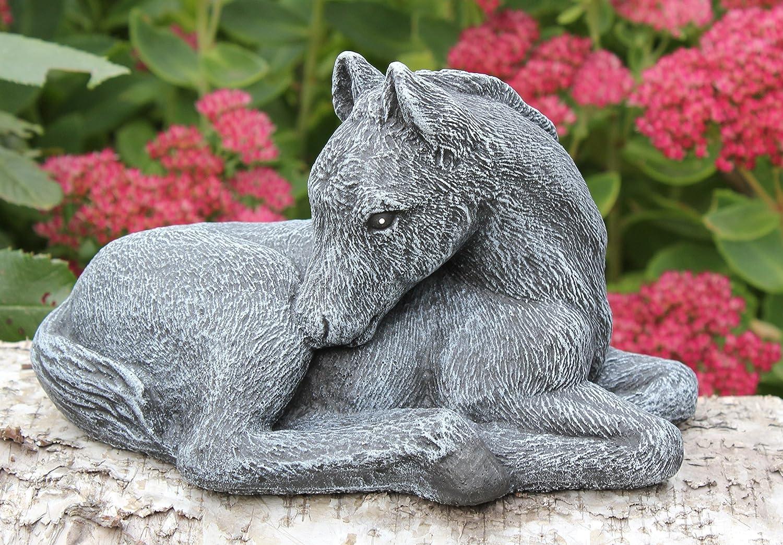 pierre recompos/ée petit format Statue en pierre cheval gris ardoise