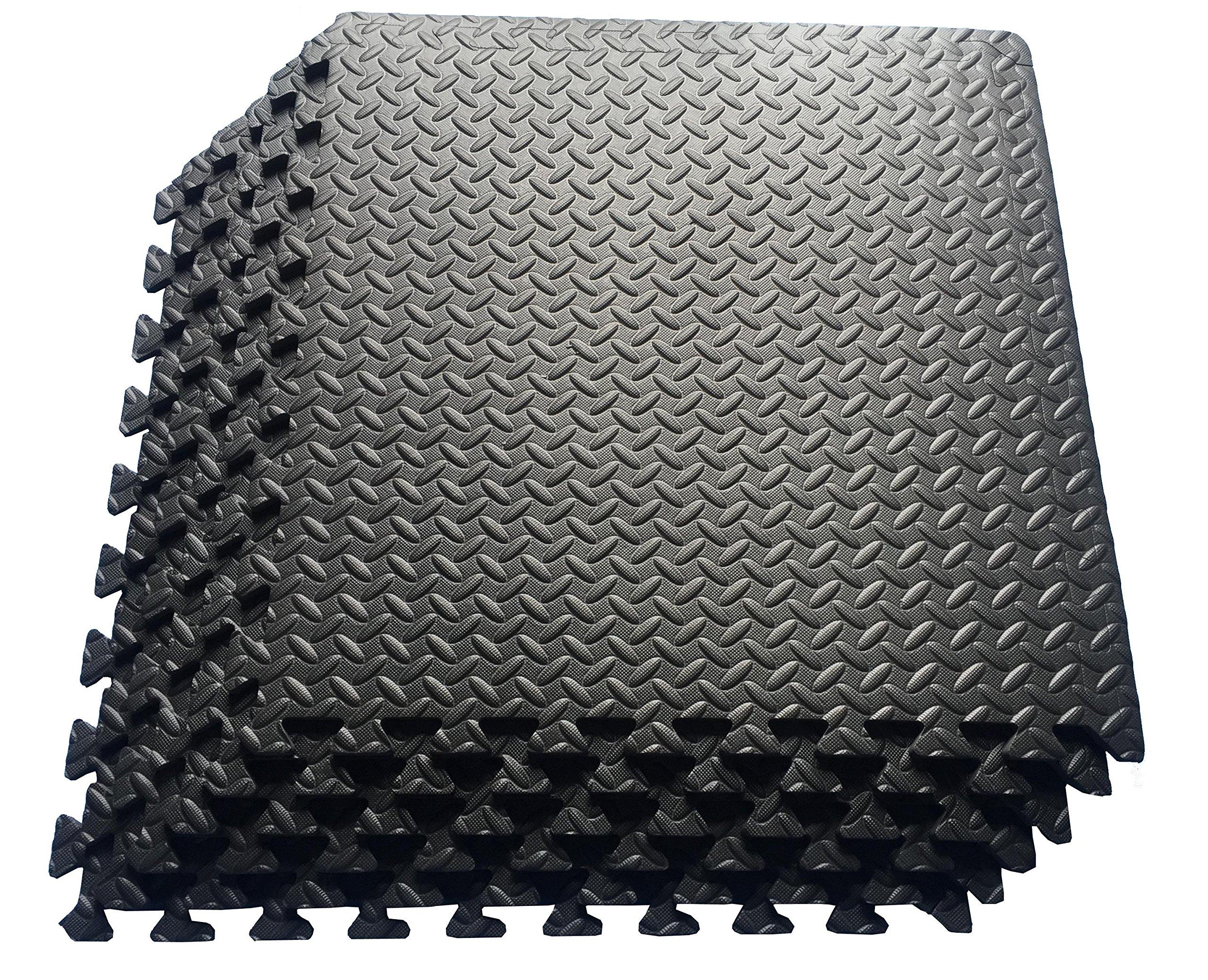 Multipurpose Anti-Fatigue Exercise Puzzle Mat Tiles - Interlocking EVA Foam Mat Tiles - 216 Sq. Ft. (Black)