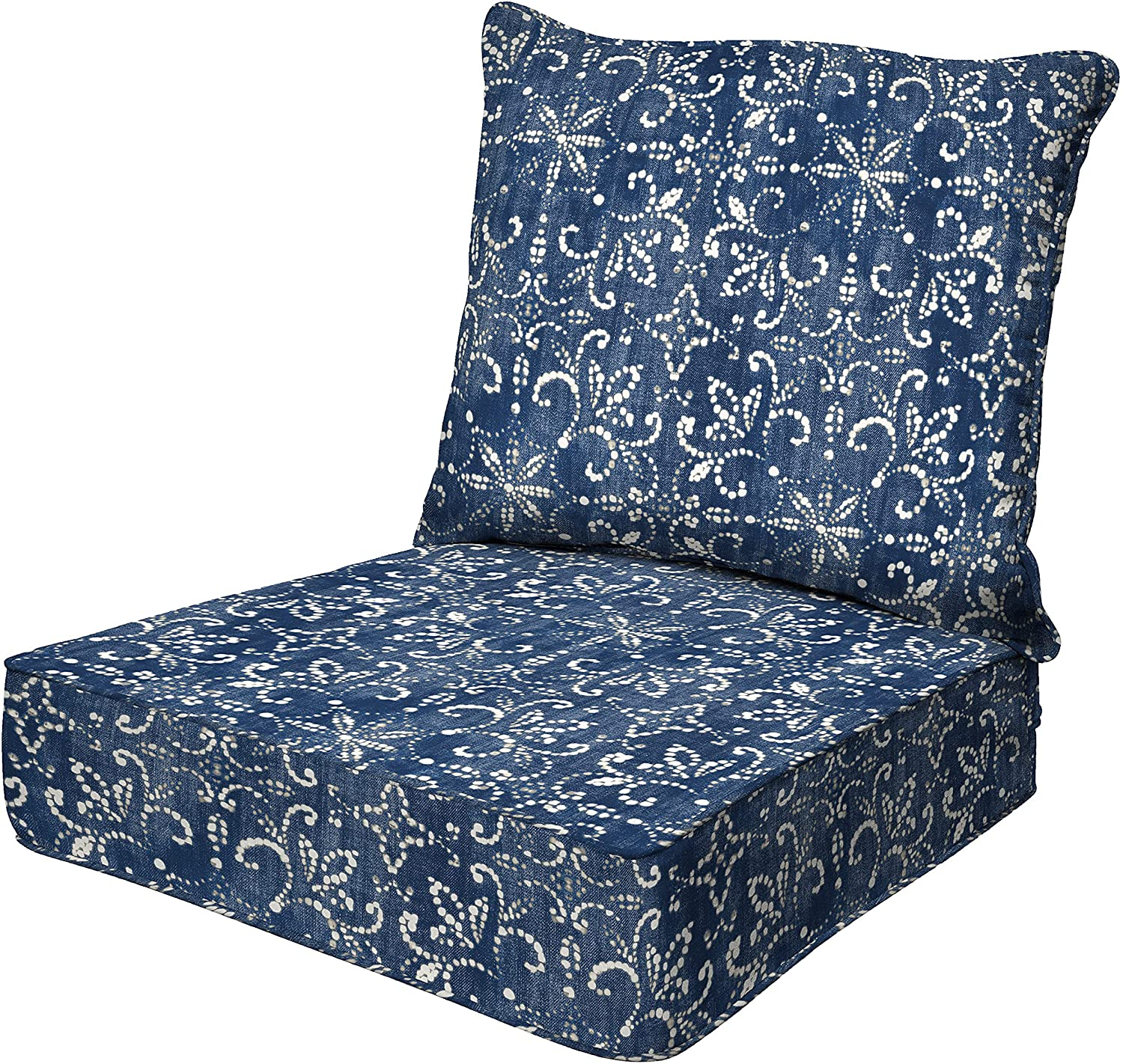 Honeycomb Indoor/Outdoor Boheme Deep Seat Chair Cushion Set: Recycled Polyester Fill, Weather Resistant Patio Cushions: Seat: 24