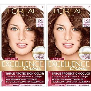 L'Oréal Paris Excellence Créme Permanent Hair Color, 5RB Medium Reddish Brown, 2 COUNT 100% Gray Coverage Hair Dye
