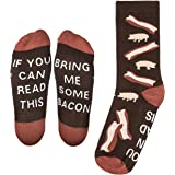 """""""Bring Me Some Bacon"""" Dress Socks - Perfect Unisex Novelty Gift for Bacon Lover and Funny White Elephant or Secret Santa Gift Exchange Idea for Men and Women - By Lavley Expressions"""