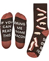 """Bring Me Some Bacon"" Dress Socks - Perfect Unisex Novelty Gift for Bacon Lover and Funny White Elephant or Secret Santa Gift Exchange Idea for Men and Women - By Lavley Expressions"