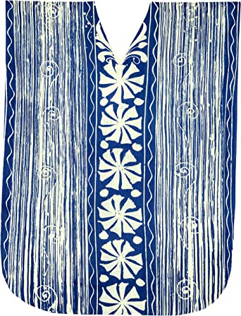 LA LEELA Boho Cotton Women Hand Batik Tunic Caftan Kimono Oversized Long Maxi Loungewear Holiday Nightwear Everyday Beach Cover UP Plus Size Kaftan is