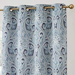 "HLC.ME Paris Paisley Print Damask Thick Thermal Insulated Energy Efficient Room Darkening Blackout Grommet Top Window Curtain Panels for Bedroom - Set of 2 - 50"" W x 84"" L (Blue)"