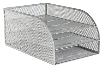 Osco 3TLTA-SLV - Bandeja para cartas de 3 niveles de malla metálica montada, color plateado