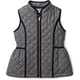 Hope & Henry Baby Girls' Navy Quilted Glen Plaid Vest